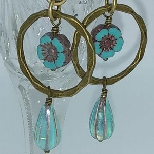 Czech Glass Turquoise Blue Opal Drop Earrings